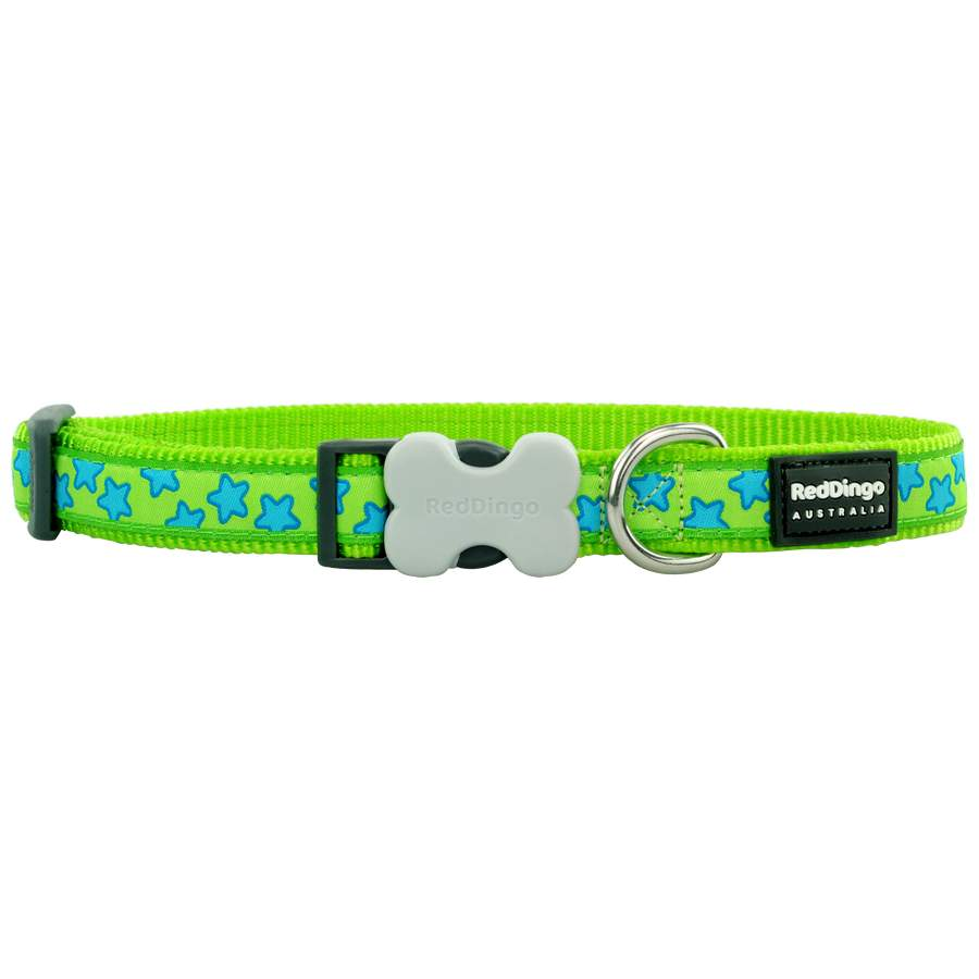 Red Dingo Stars Turquoise on Lime Green Medium Dog Collar