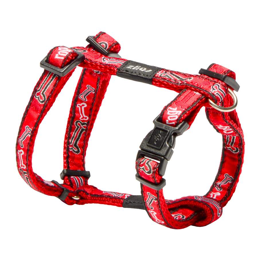 Rogz Fancy Dress Jellybean Dog Harness Small Red Bones