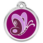 Red Dingo Dog ID Tag Butterfly Purple Small