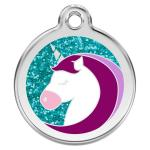 Red Dingo Dog ID Tag Unicorn Aqua Large