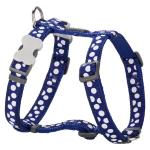 Red Dingo White Spots Dark Blue Small Dog Harness