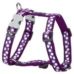 Red Dingo White Spots Purple Large Dog Harness