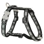 Red Dingo Paw Impressions Black Large Dog Harness