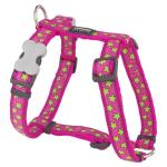 Red Dingo Stars Hot Pink Small Dog Harness