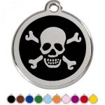 Red Dingo Dog ID Tag Skull & Crossbones Medium