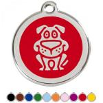 Red Dingo Dog ID Tag Happy dog Medium
