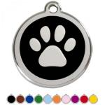Red Dingo Dog ID Tag Paw Prints Large