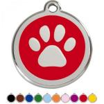 Red Dingo Dog ID Tag Paw Prints Medium