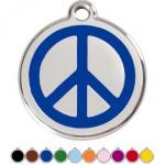 Red Dingo Dog ID Tag Peace Sign Large