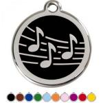 Red Dingo Dog ID Tag Music Notes Large