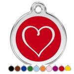 Red Dingo Dog ID Tag Tribal Heart Large