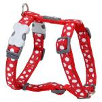 Red Dingo White Spots Red Medium Dog Harness