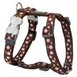 Red Dingo Pink Spots Brown Large Dog Harness