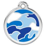 Red Dingo Dog ID Tag Camouflage Blue Large - NEW