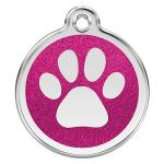 Red Dingo Dog ID Tag Glitter Paw Prints Small - NEW