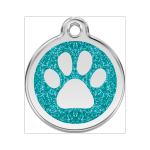 Red Dingo Dog ID Tag Glitter Paw Prints Medium