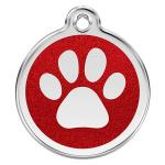 Red Dingo Dog ID Tag Glitter Paw Prints Large - NEW