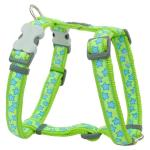 Red Dingo Stars Turquoise on Lime Green Small Dog Harness