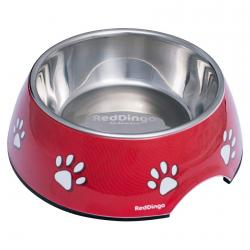 Red Dingo dog bowl small Pawprints red