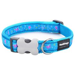 Red Dingo Butterfly Turquoise Medium Dog Collar