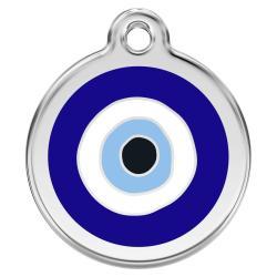 Red Dingo Dog ID Tag Evil Eye Dark Blue Small