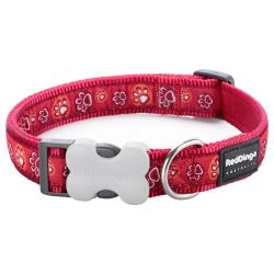 Red Dingo Paw Impressions Red XS Dog Collar
