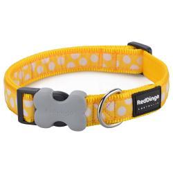 Red Dingo White Spots Yellow Medium Dog Collar