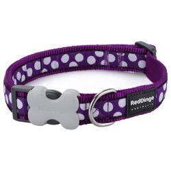Red Dingo White Spots Purple Medium Dog Collar