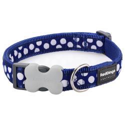 Red Dingo White Spots Dark Blue Medium Dog Collar