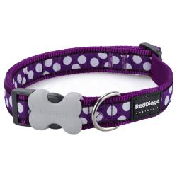 Red Dingo White Spots Purple Large Dog Collar