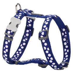 Red Dingo White Spots Dark Blue XS Dog Harness