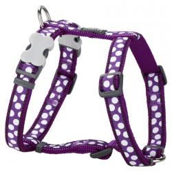 Red Dingo White Spots Purple Medium Dog Harness