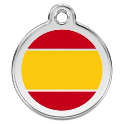 Red Dingo Dog ID Tag Spanish Flag Small