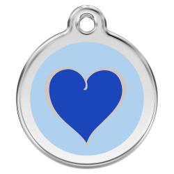 Red Dingo Dog ID Tag Heart Dark blue Medium