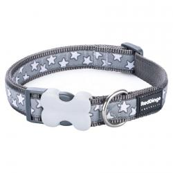 Red Dingo Stars Grey Medium Dog Collar