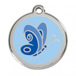 Red Dingo Dog ID Tag Blue Butterfly Small