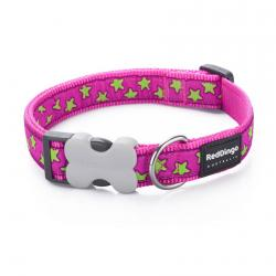 Red Dingo Stars Hot Pink Small Dog Collar