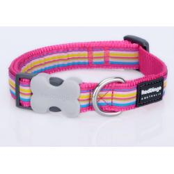 Red Dingo Horizontal Stripes Hot Pink Medium Dog Collar