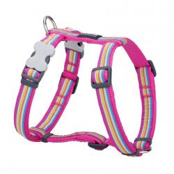 Red Dingo Horizontal Stripes Hot Pink Small Dog Harness