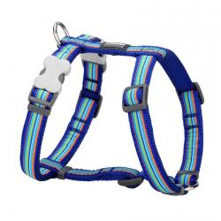 Red Dingo Horizontal Stripes Dark Blue Medium Dog Harness