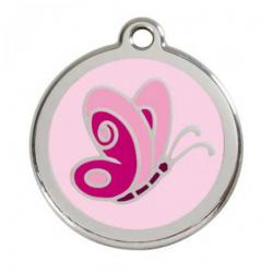 Red Dingo Dog ID Tag Pink Butterfly Large
