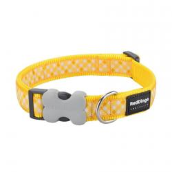 Red Dingo Gingham Yellow Medium Dog Collar