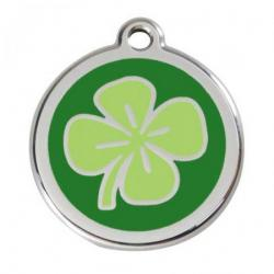 Red Dingo Dog ID Tag Green Clover Small