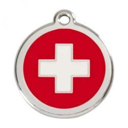Red Dingo Dog ID Tag Swiss Cross Small