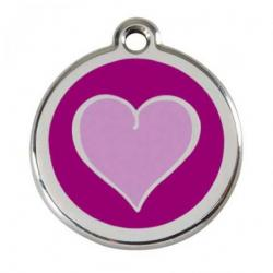 Red Dingo Dog ID Tag Purple Heart Small