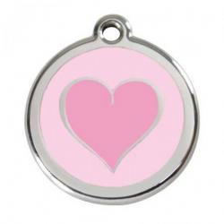 Red Dingo Dog ID Tag Pink Heart Medium