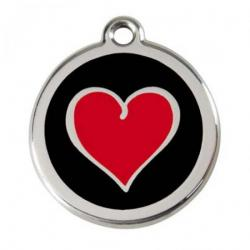 Red Dingo Dog ID Tag Red Heart Small