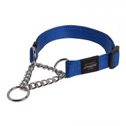 Rogz Utility Fanbelt Blue Half-Check Collar - Large