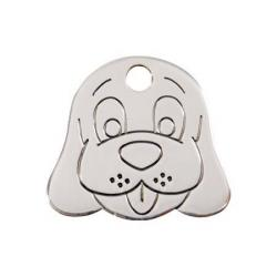 Red Dingo Dog ID Tag Happy Dog Face Medium FS