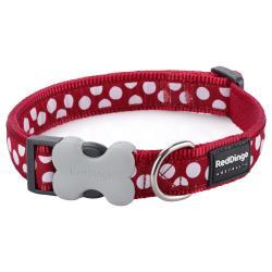 Red Dingo White Spots Red Medium Dog Collar
